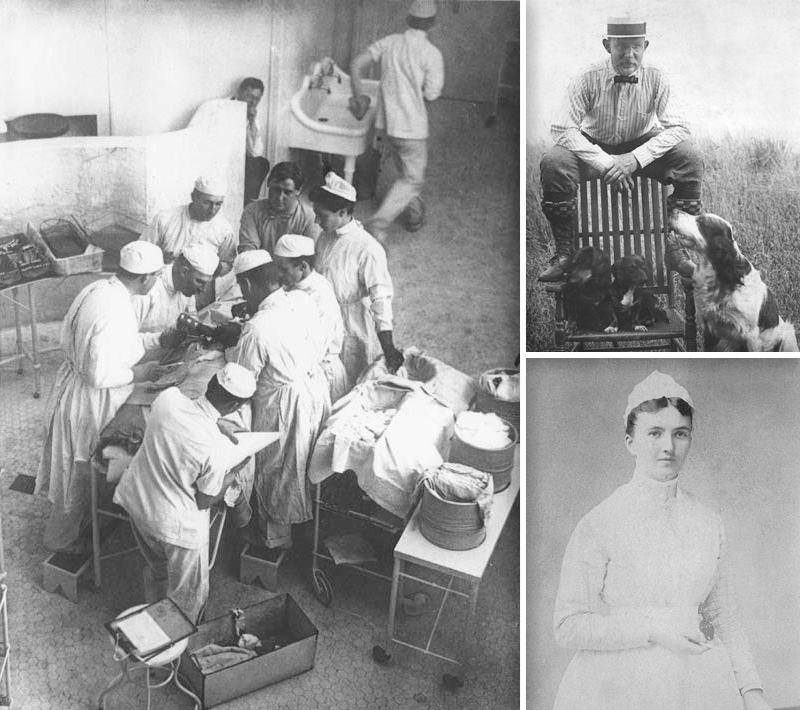 Слева - Уильям Стюарт Холстед оперирует в госпитале Джона Хопкинса в перчатках, но без масок, 1904 год. Справа сверху - Уильям Стюарт Холстед (1852-1922) в семейном поместье в Северной Каролине.  Справа снизу - Каролина Хэмптон (1861-1922) в 1889 году, когда она поступила в госпиталь Джона Хопкинса и познакомилась с будущим мужем.