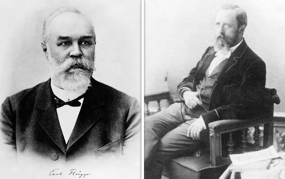 Слева - гигиенист Карл Флюгге (1847-1923), первооткрыватель воздушно-капельного пути распространения инфекций. Справа - хирург Ян Микулич-Радецкий (1850-1905).
